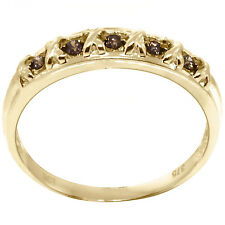 Natural 0.35ct Champagne Diamond 9K 9ct 375 Solid Gold Ring