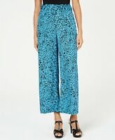 Size M, Thalia Sodi Womens Animal-Print Wide-Leg Pants, Blue NWT