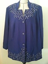 New Candlelight Champagne 28W woman plus skirt suit purple blue 2pc floral embro