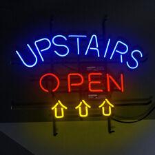 "24""x20""Upstairs Open Neon Sign Light Bistro Bar Pub Wall Decor Man Cave Artwork"