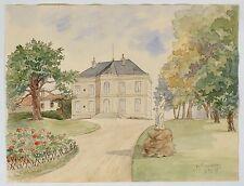 Aquarelle belle demeure Gersoise Villeneuve Gascogne Gers 1889 XIXème.