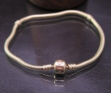 "PANDORA Moments ""Barrel Clasp"" Snake Chain Charm Bracelet 14k Yellow Gold 8.3"""