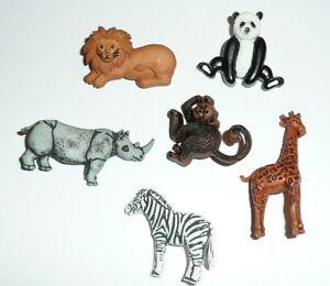 Zoo Animals Plastic Shank Buttons (6 diff) Monkey Lion Giraffe Panda Rhino Zebra