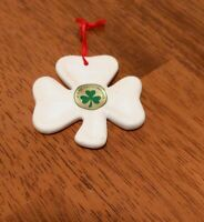 Ireland Christmas ornament cloverleaf white ceramic