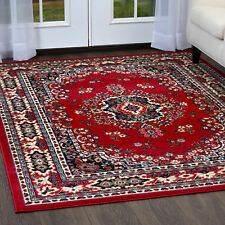 Traditional Medallion Red Persian 3 Pcs Area Rug Oriental Runner Mat Combo Set