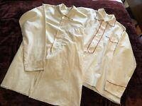 TWO VINTAGE ANTIQUE 1892 COTTON MENS SHIRTS WITH HAND  EMBROIDERED TRIM