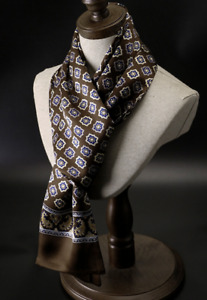 100% Silk Mulberry Satin Scarf men women neckerchief Wrap brown blue QS175-6