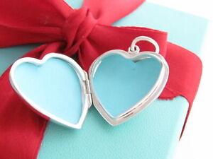 Tiffany & Co Silver Large Heart Locket Pendant Charm For Necklace / Bracelet Box