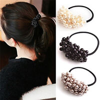 Pearl Acrylic Beads Elastic Hair Accessory Band Ring Rope Ties Ponytail HolBLCA