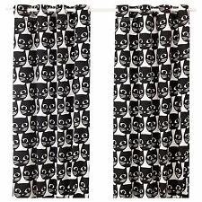 New Ikea Mattram curtains, 1 pair black/ white, white black cat kitty print
