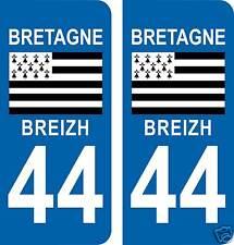 2 autocollants style plaque immatriculation BRETAGNE Loire Atlantique 44 BRETON