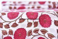 2.5 Yard Hand Block Print Handmade Cotton Indian Natural Sanganeri Print Fabric