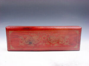 Top Quality Mahogany Hard Wood Storage Box Chopstick Organizer 2 Dragon Fireball