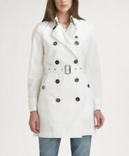 Burberry Brit Women's White Cotton Twill Trench Coat Size 4