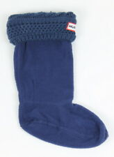 Hunter Kids 11-13 US 'Moss Cable' Cuff Welly Socks Navy Size M New