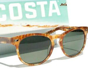 NEW Costa DEL MAR Honey Tortoise Kelp POLARIZED 580G Glass Grey Sunglass DEL 206
