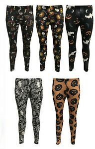 New Women's Halloween Bat Pumpkin Print Leggings Ankle Length Skinny Ladies 8-26