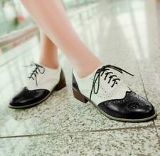 Womens Wing Tips Brogues Oxfords  Retro Shoes Low Heels Girls Oxfords Plus Size