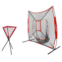 TOP QUALITY 7'×7' Baseball Practice Net + Portable Batting Ball Caddy W/ Bag