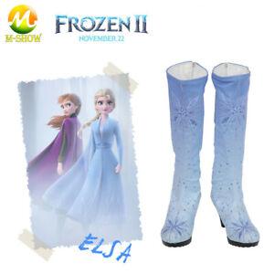 Princess Elsa Cosplay Shoes for Adult Halloween Princess Blue Boots High Heel