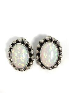 Nakai Signed Navajo Sterling Silver Opal Clip On Earrings