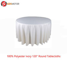 120'' Round Polyester Ivory Tablecloth Cover for Wedding Party Banquet Table