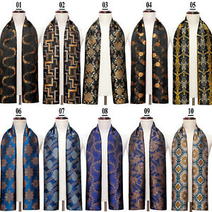 Silk Mens Scarf Silk Neck Warmer Designer Scarves Gold Blue Black Paisley Floral