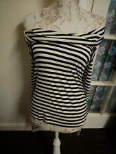 Topshop Tall black white stripe bardot top w/ long sleeves 10 retro kitsch