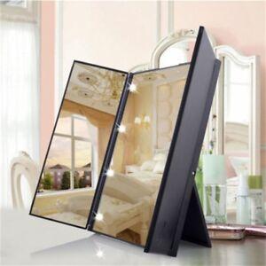 LED Makeup Mirror Beauty Portable Folding Mirror Foldable Desktop Travel Beauty