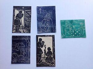 Five original small woodblock prints of Christmas nativity scenes - card making