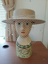 Vintage Michele Hat tan with white veil and flower