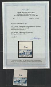 FR.-ZONE BADEN 46 II KONSTANZ OBERRAND FOTO-ATTEST POSTFRISCH(+650,00) s. SCAN