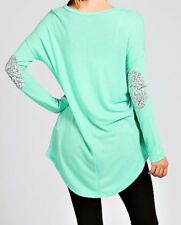 Women's Sequin Elbow Patch Tunic Medium Mint Green Styleholic