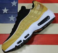 Nike Air Max 95 LX Women Running Shoes Wheat Gold Black White Satin [AA1103-700]