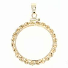 Coin Holder Pendant - 14k Yellow Gold Rope Detail Women's Gift