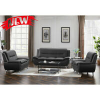 3 Piece Living Room Sofa Set Loveseat Sofa Chair Couch Bed Dark Grey Furniture