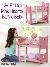 "6pc Pink Hearts Baby Doll BUNK BED+Ladder+Pillows+Blankets Set 18"" American Girl"