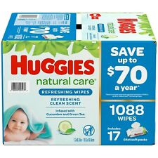 Huggies Natural Care Baby Wipe Refill Refreshing Clean 1,088 ct FREE SHIPPING