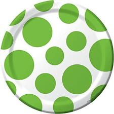 "Chevron Polka Dots Fresh Lime Modern Party Supplies 7"" Paper Dessert Plates"