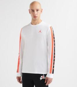 Air Jordan Gradient Long Sleeve Shirt White Infrared Black bq5571-100 Small S