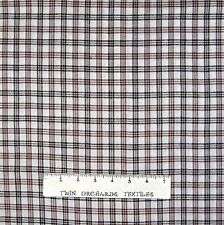 Rustic Woven Fabric - Real Homespun Brown Cream Plaid - Textile Creations YARD