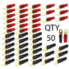 "(50) 1/0 AWG Gauge Gold Wire Crimp Cable Ring Terminal Red Black Boots 3/8"" Lug"