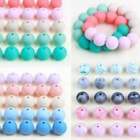 10 STÜCK Silikon Lose Perlen Ball für Baby Beißring Schnullerkette DIY Halskette