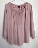 Chaps Womens M Shirt Pink Peasant Top Tee Lace Detail Long Sleeve