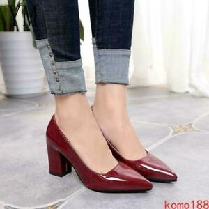 Womens lady High Chunky Heel Pointed Toe Casual OL Office Pumps Shoes