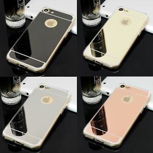 LUXURY MIRROR GLOSSY REFLECTIVE GEL SOFT BACK CASE COVER FOR IPHONE 8 8+ 7 7+ 6S