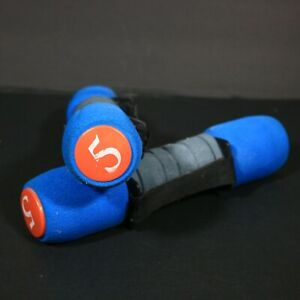 5lbs Dumbbells Pair Soft Padded Foam Hand Strap Blue Orange Home Workout