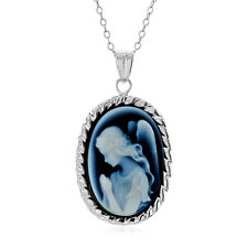 """Natural Blue Agate Angel Cameo Framed in Sterling Silver with 18"""" Chain"""