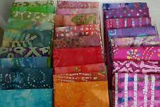 Lot of 10 fat quarters, No Duplicates,100%Batik Cotton Quilting Fabric, grab bag