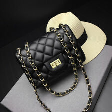 (USA) mini 20cm Handbag Lambskin Classic Quilted Sheepskin Leather Lady Bag blac